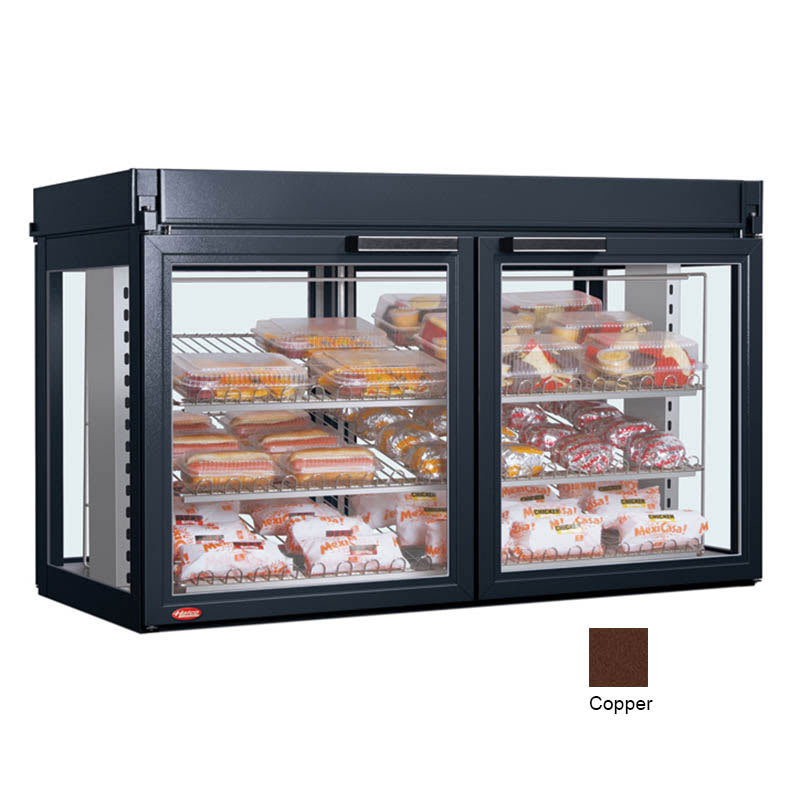 "Hatco LFST-48-2X 48.81"" Self-Service Countertop Heated Display Case - (3) Shelves, Copper, 240v/1ph"