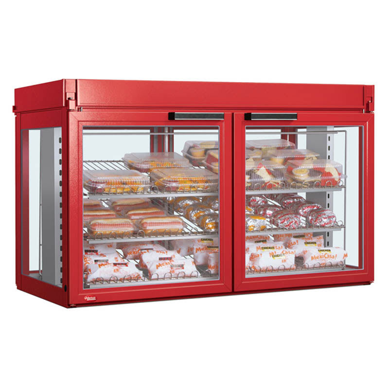 "Hatco LFST-48-2X 48.81"" Self-Service Countertop Heated Display Case - (3) Shelves, Red, 240v/1ph"