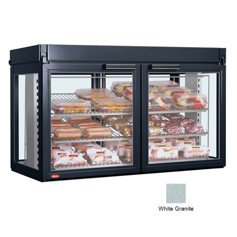 "Hatco LFST-48-2X 48.81"" Self-Service Countertop Heated Display Case - (3) Shelves, White, 240v/1ph"