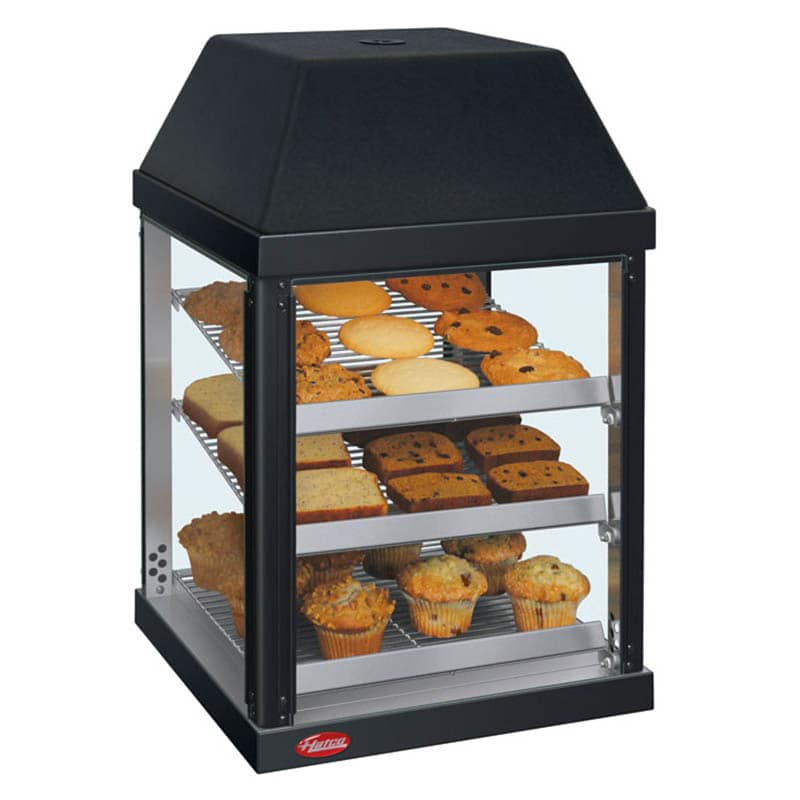 "Hatco MDW-1X 15.75"" Full-Service Countertop Heated Display Case - (3) Shelves, Black, 120v"