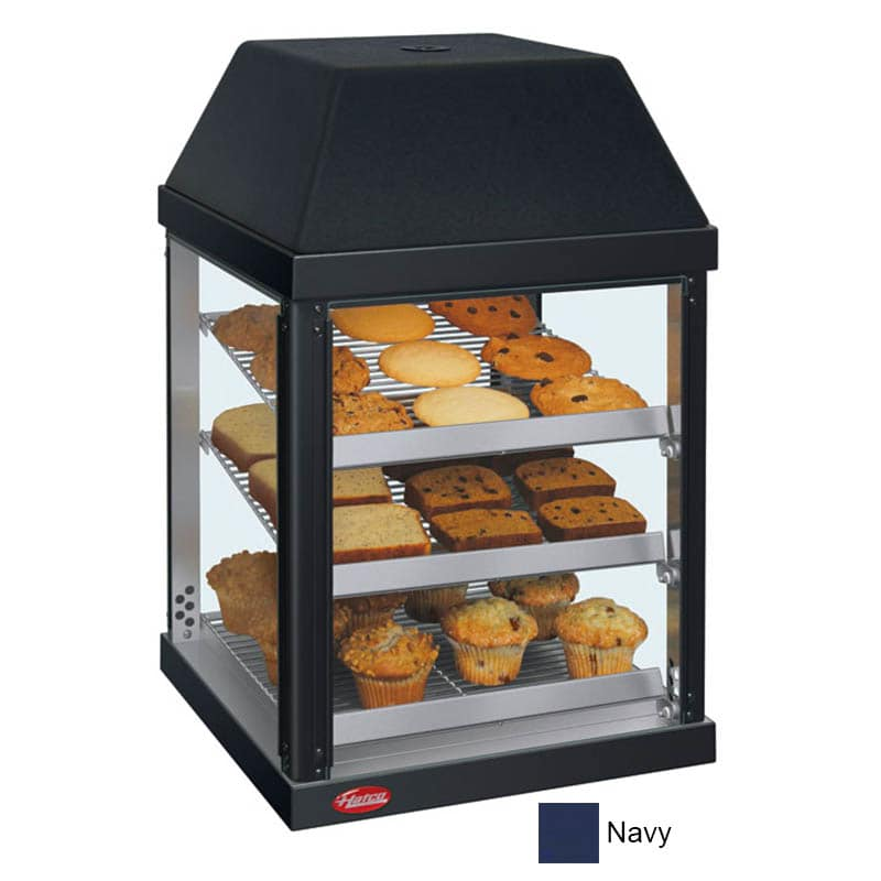 "Hatco MDW-1X 15.75"" Full-Service Countertop Heated Display Case - (3) Shelves, Navy, 120v"