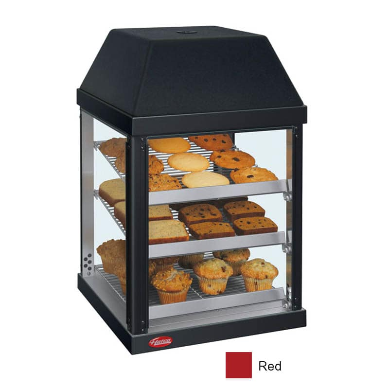 "Hatco MDW-1X 15.75"" Full-Service Countertop Heated Display Case - (3) Shelves, Red, 120v"
