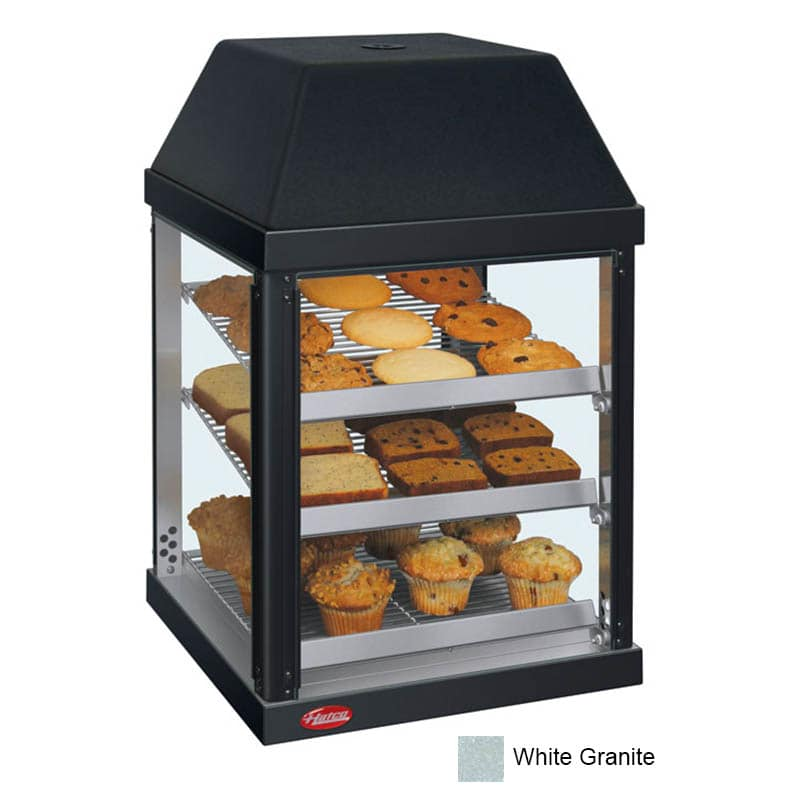 "Hatco MDW-1X 15.75"" Full-Service Countertop Heated Display Case - (3) Shelves, White, 120v"