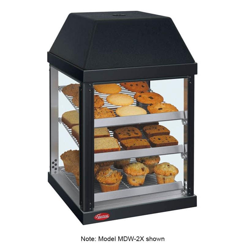 "Hatco MDW-2X 15.75"" Self-Service Countertop Heated Display Case - (3) Shelves, Black, 120v"