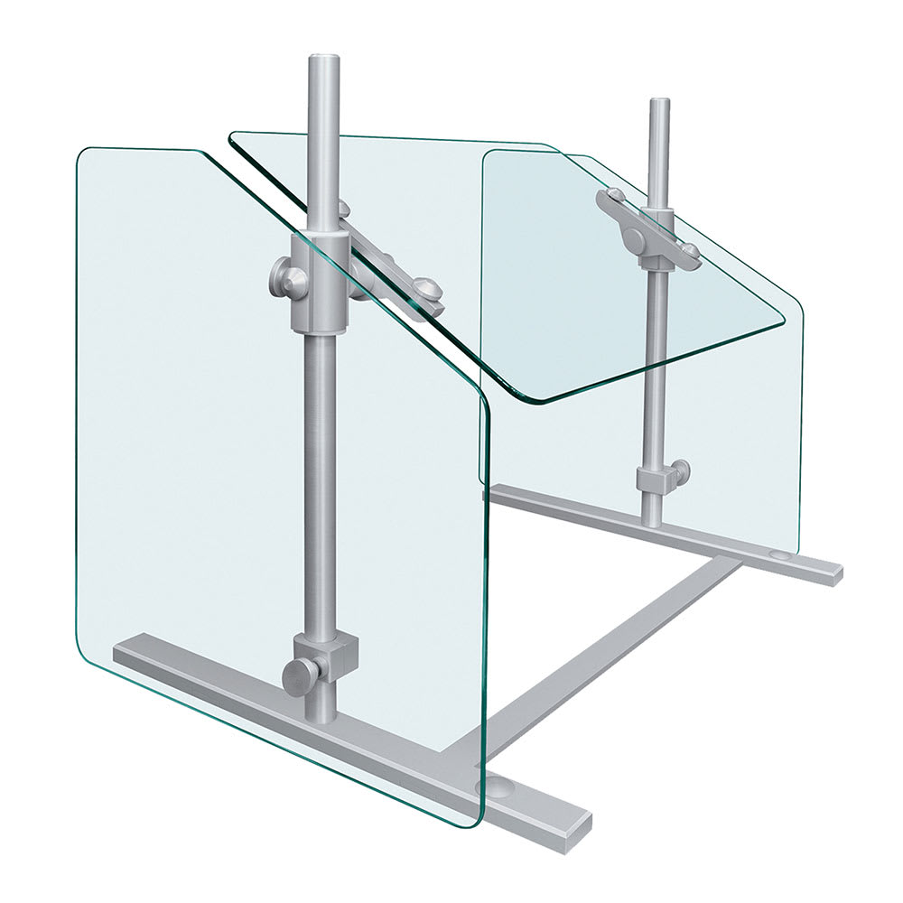 "Hatco SGPT-42 42"" Portable Sneeze Guard - Adjustable Height, Aluminum Posts"