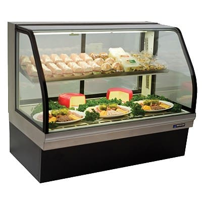 "Master-bilt CGD-77 77"" Full Service Deli Case w/ Curved Glass - (2) Levels, 115v"