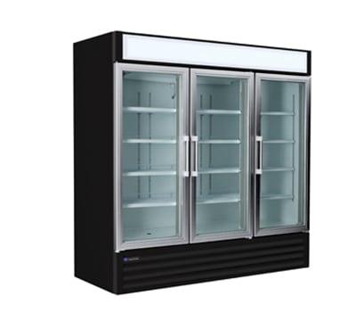 "Master-bilt MBGR70H 78"" Three-Section Glass Door Merchandiser w/ Swing Doors, 115v"