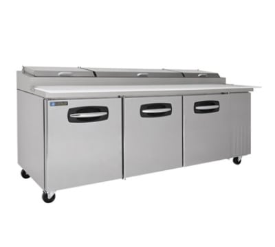 "Master-bilt MBPT93-002 93"" Pizza Prep Table w/ Refrigerated Base, 115v"