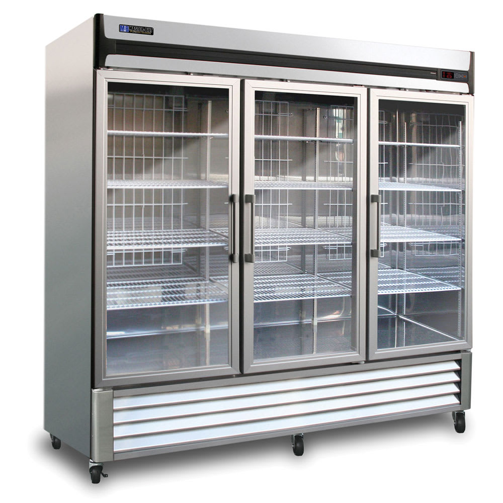 "Master-bilt MBR72-G 78"" Three-Section Reach-In Refrigerator, (3) Glass Doors, 115v"