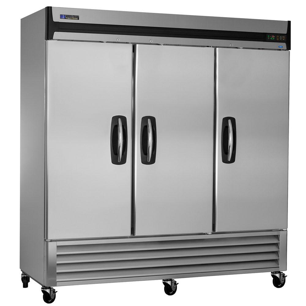 """Master-bilt MBR72-S 78"""" Three Section Reach-In Refrigerator, (3) Solid Door, 115v"""