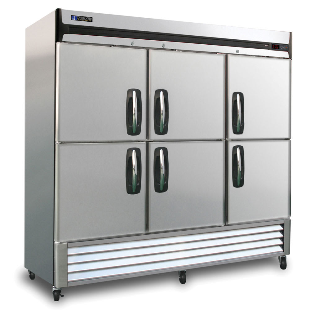 "Master-bilt MBR72-SH 78"" Three-Section Reach-In Refrigerator, (6) Glass Doors, 115v"