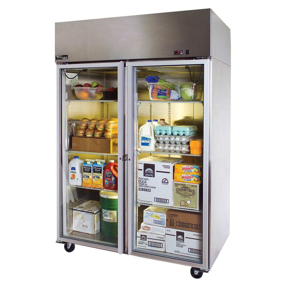 "Master-bilt MNR522SSG/0X 55"" Two Section Reach In Refrigerator, (2) Left/Right Hinge Glass Doors, 115v"