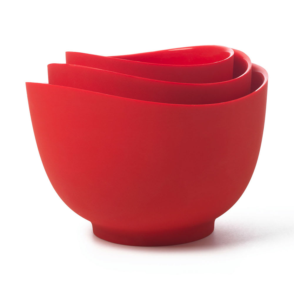 iSi B251 01 Flexible Mixing Bowl Set w/ 1 qt, 1.5 qt & 2 qt Capacity, Form Anywhere Spout, Red