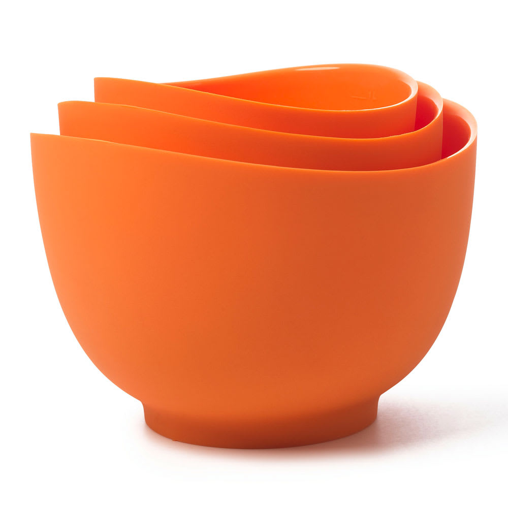 iSi B251 06 Flexible Mixing Bowl Set w/ 1-qt, 1.5-qt & 2-qt Capacity, Form Anywhere Spout, Orange