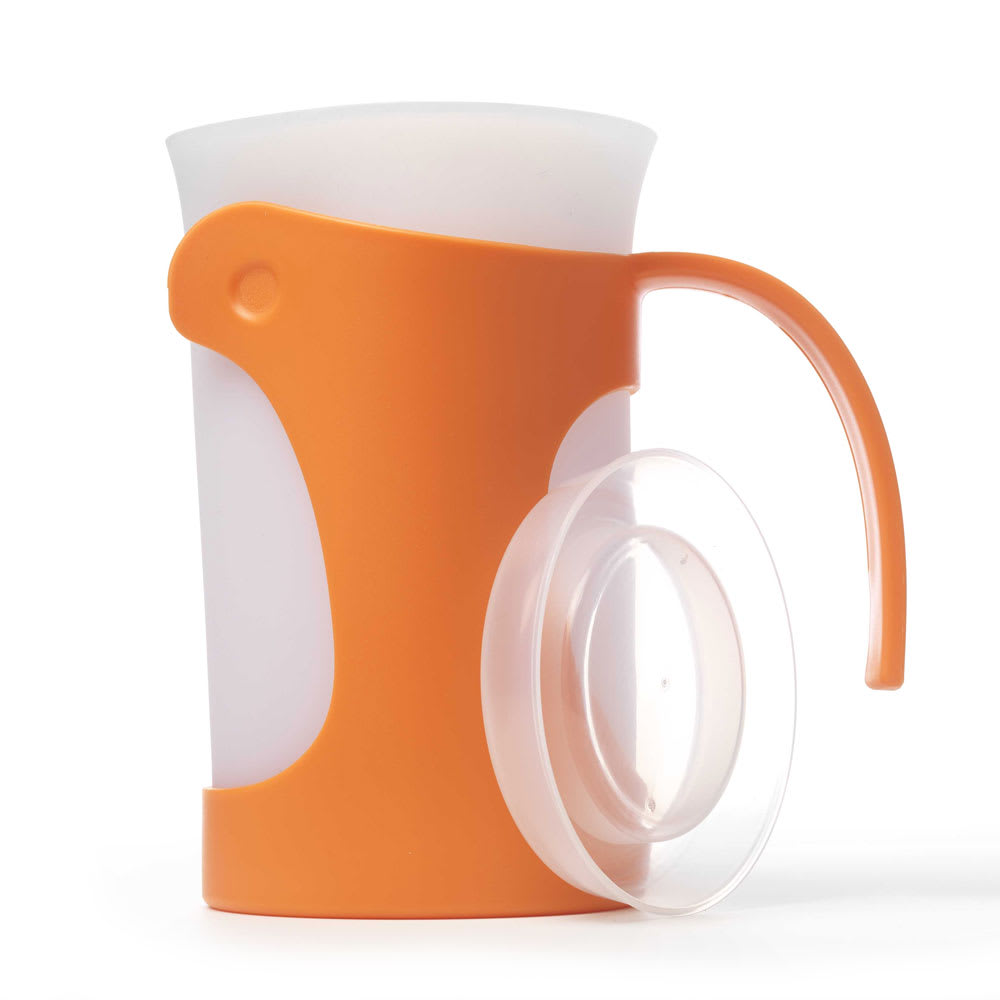iSi B700 06 50 oz Pitcher w/ Ergonomic Handle & Silicone Liner, Lid, Orange
