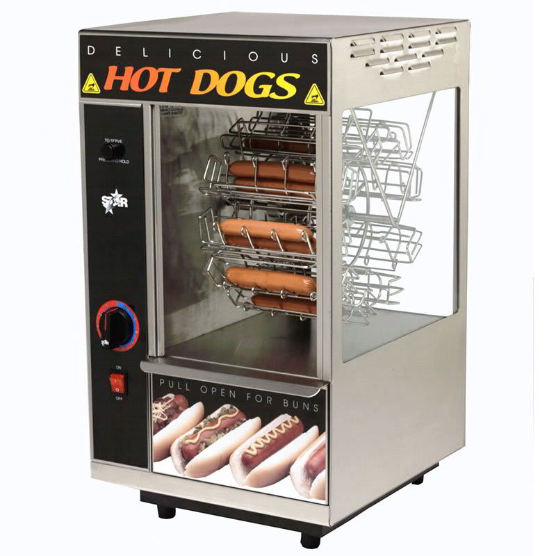 Star 174CBA Hot Dog Broiler w/Bun Warmer, Cradle Type, 18- Dog/12-Bun