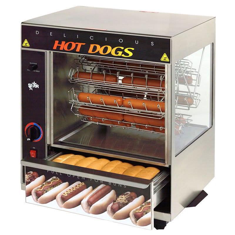 Star 175CBA Hot Dog Broiler w/ Bun Warmer, Cradle Type, 36-Dog/ 32-Bun, 120v
