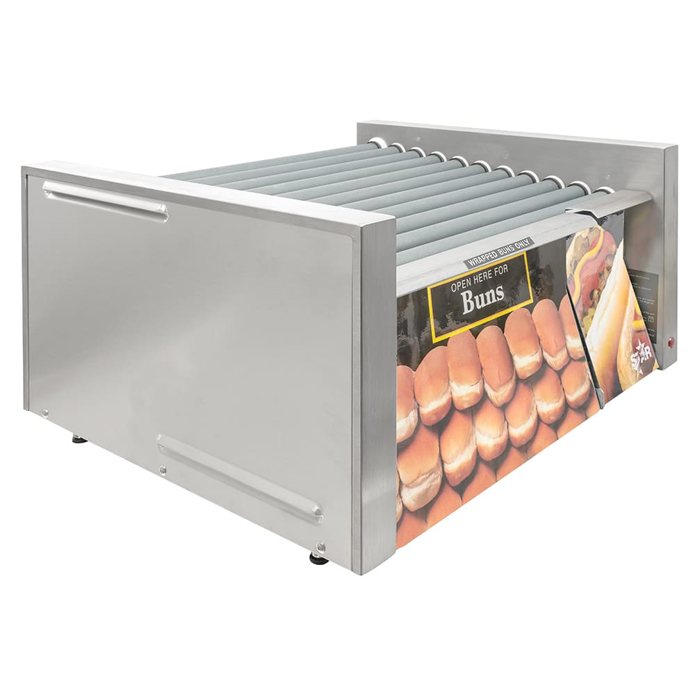 Star 30SCBDE 30 Hot Dog Roller Grill w/Bun Storage - Slanted Top, 120v