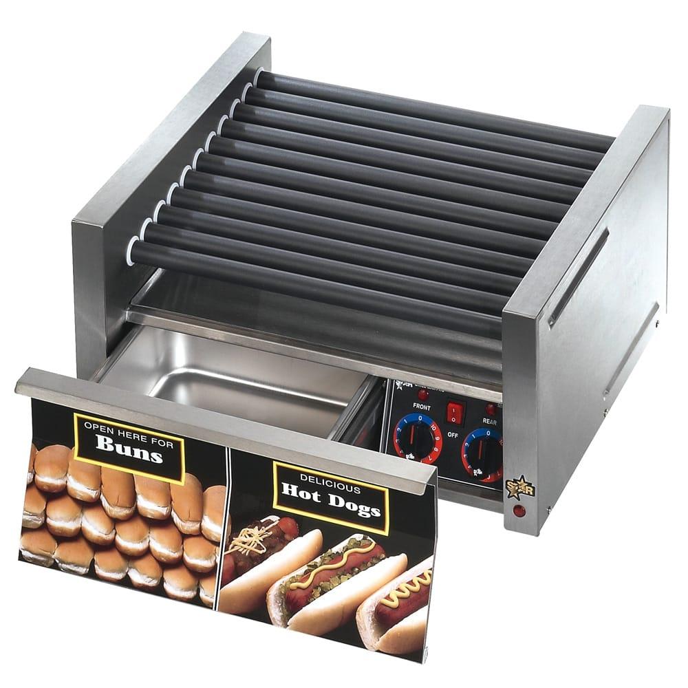 Star 50SCBD 50 Hot Dog Roller Grill w/Bun Storage - Slanted Top, 120v