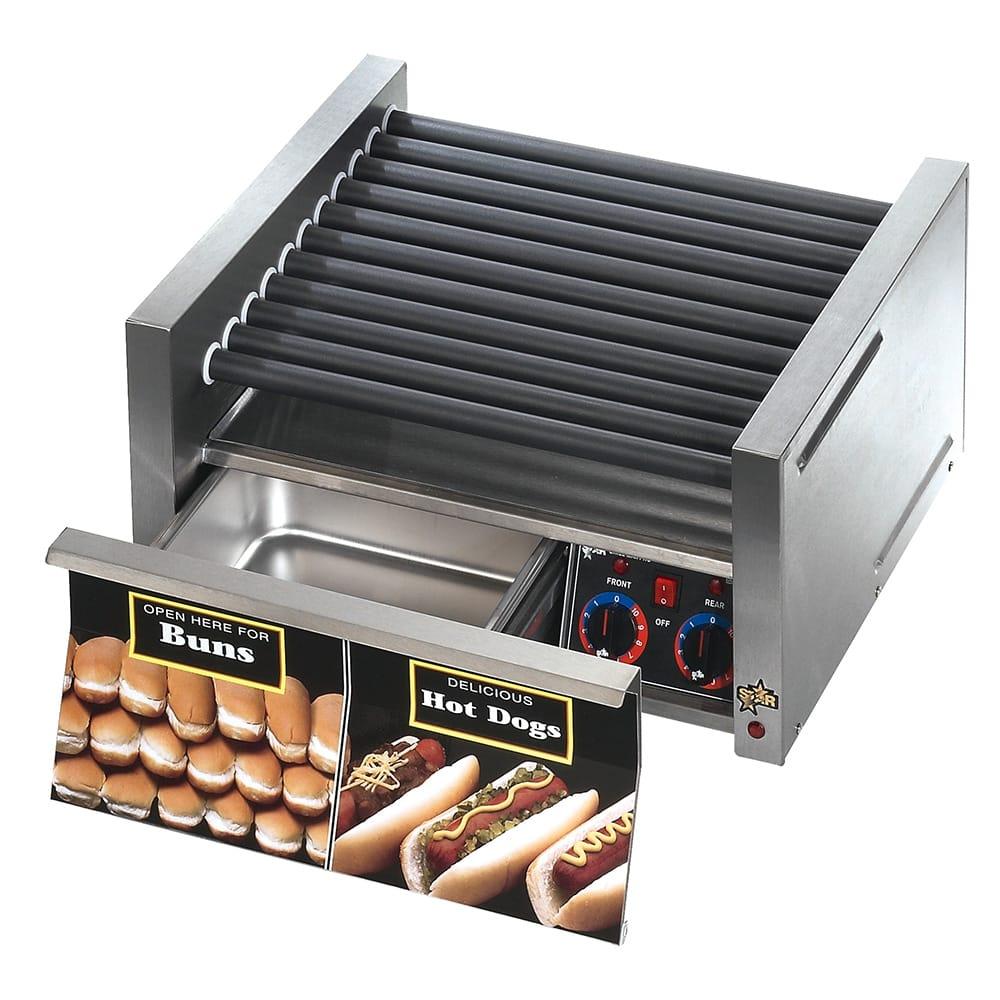 Star 50SCBDE 50 Hot Dog Roller Grill w/Bun Storage - Slanted Top, 120v
