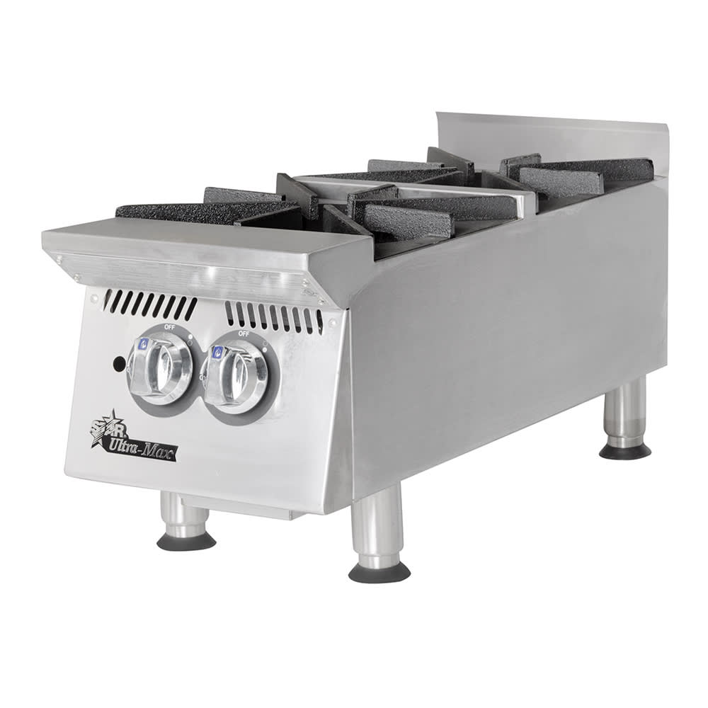"Star 802HA 12"" Gas Hotplate w/ (2) Burners & Manual Controls"