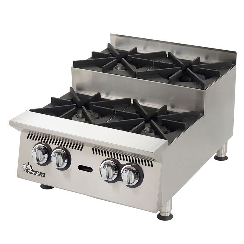 "Star 804HA-SU 24"" Gas Hotplate w/ (4) Burners & Manual Controls"
