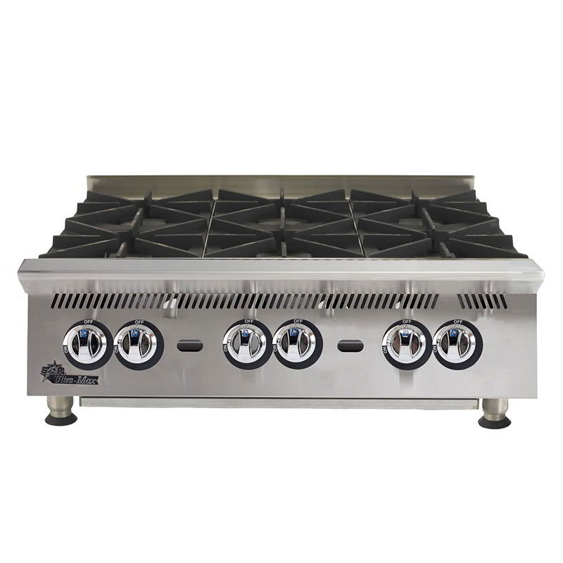 "Star 806HA 36"" Gas Hotplate w/ (6) Burners & Manual Controls"