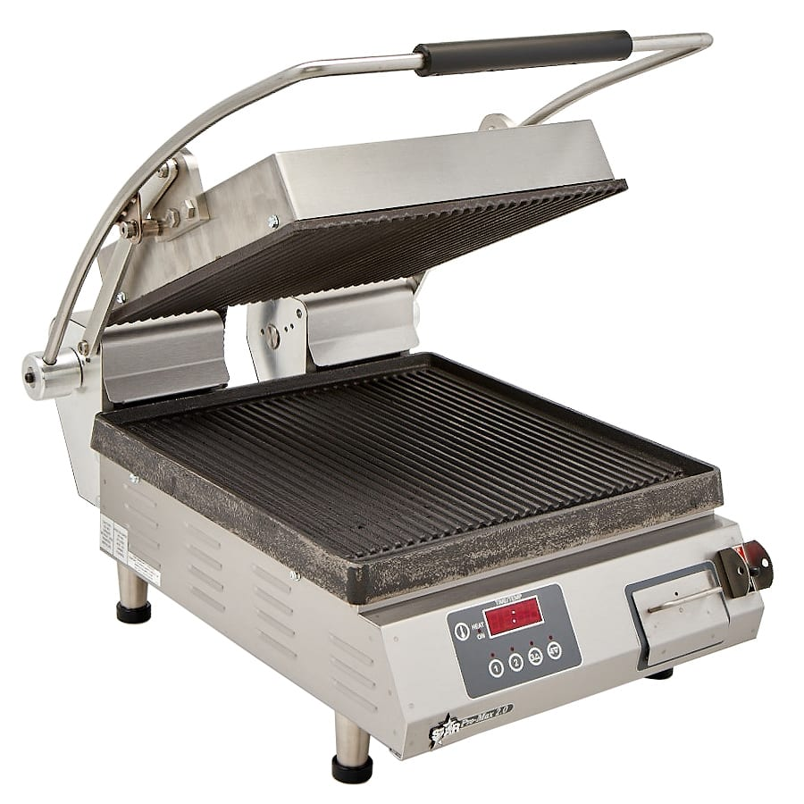 Star PGT14IE Commercial Panini Press w/ Cast Iron Grooved Plates, 120v