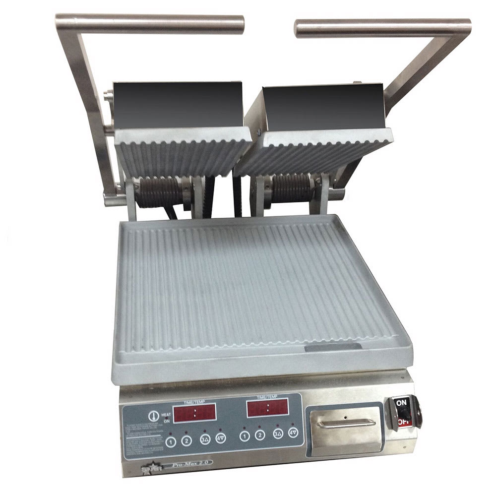 Star PGT14D Double Commercial Panini Press w/ Aluminum Grooved Plates, 240v/1ph