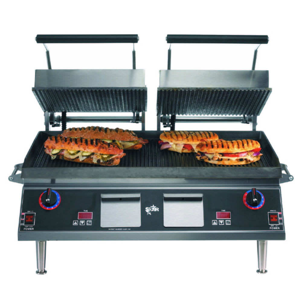 Star PGT28IGT Double Commercial Panini Press w/ Cast Iron Grooved Plates, 208-240v/1ph