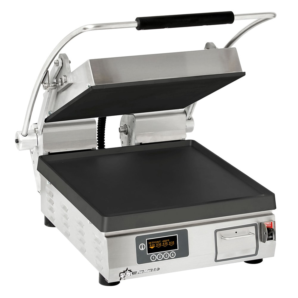 Star PST14IE Commercial Panini Press w/ Cast Iron Smooth Plates, 208-240v/1ph