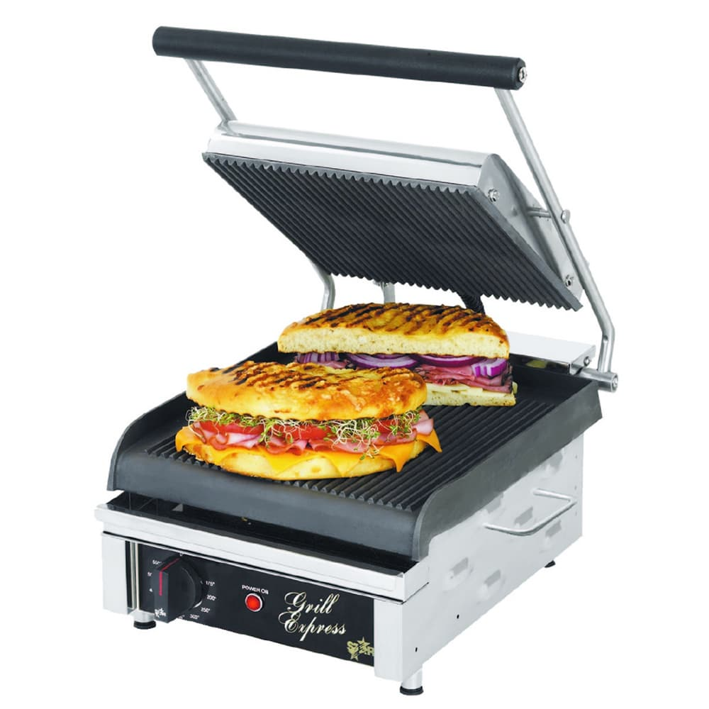 Star GX10IG Commercial Panini Press w/ Cast Iron Grooved Plates, 120v