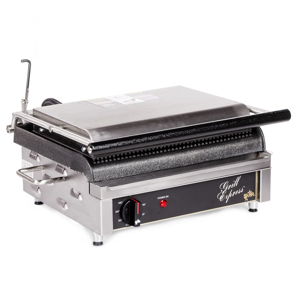 Star GX14IG Commercial Panini Press w/ Cast Iron Grooved Plates, 120v