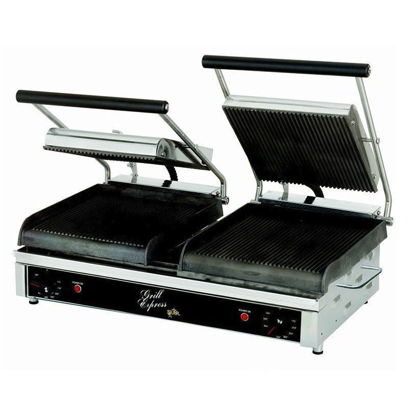 Star GX20IG Double Commercial Panini Press w/ Cast Iron Grooved Plates, 208-240v/1ph