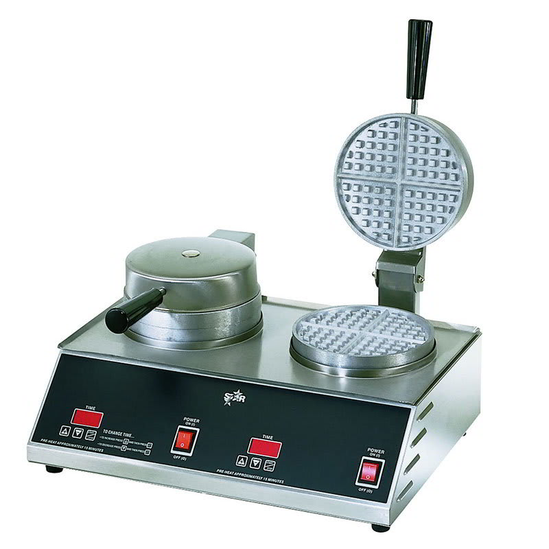 Star SWB7R2E120 Standard Waffle Baker, Double, 7 in Round Grids, 120 V