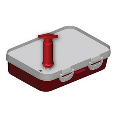 "Jaccard 201301 Instant Marinater w/ 5 Liter Capacity & Hinge Stability Bar, 10x14"", Red/White"