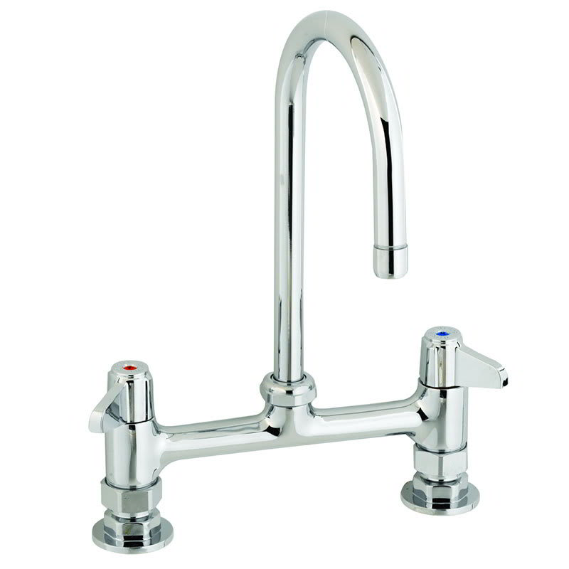 "T&S 5F-8DLX05 Deck Mount Faucet w/ 5-1/2"" Swivel Gooseneck, 8"" Center"