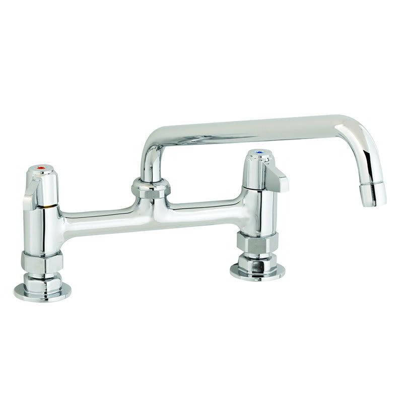 """T&S 5F-8DLX12 Equip Faucet, Deck Mount, 8"""" Centers, 12"""" Swivel, 2"""" Flange"""