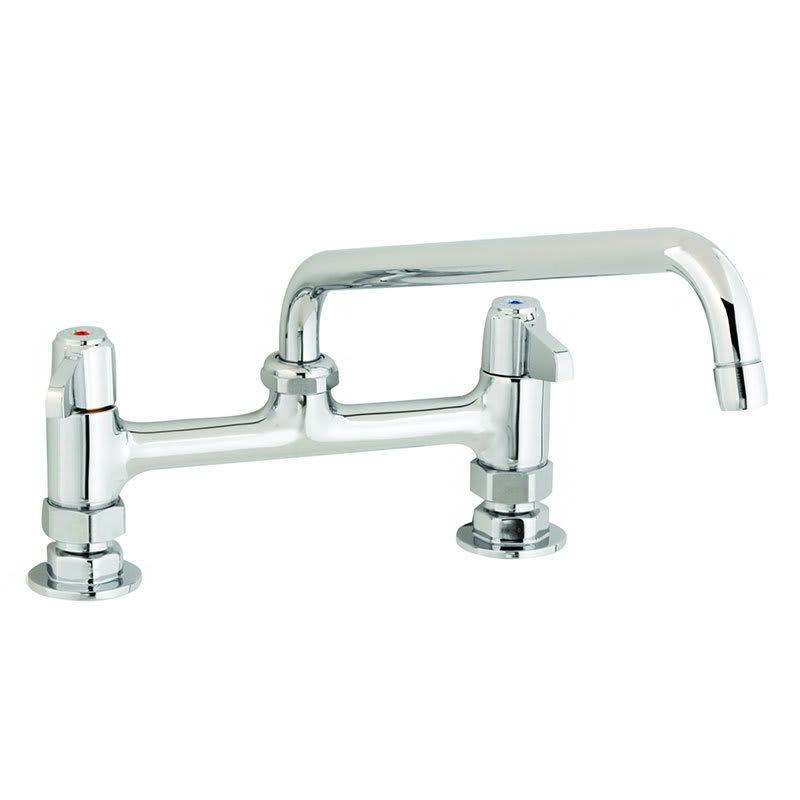"""T&S 5F-8DLX14 Equip Faucet, Deck Mount, 8"""" Centers, 14"""" Swivel, 2"""" Flange"""