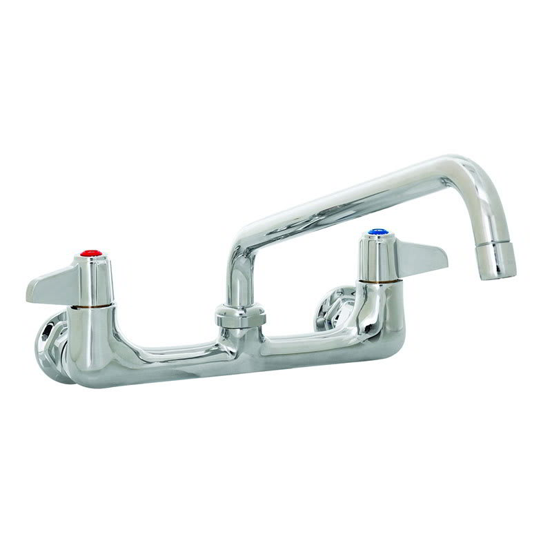 "T&S 5F-8WLX12 Equip Faucet, Wall Mount, 8"" Centers, 12"" Swivel, 2"" Flange"