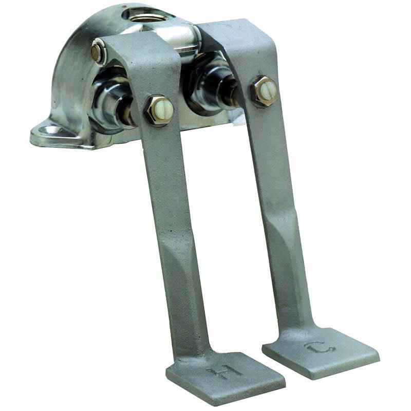 T&S B-0505 Double Pedal Valve, Ledge Mounted, Rough Chrome Plated, 2 1/2 Centers