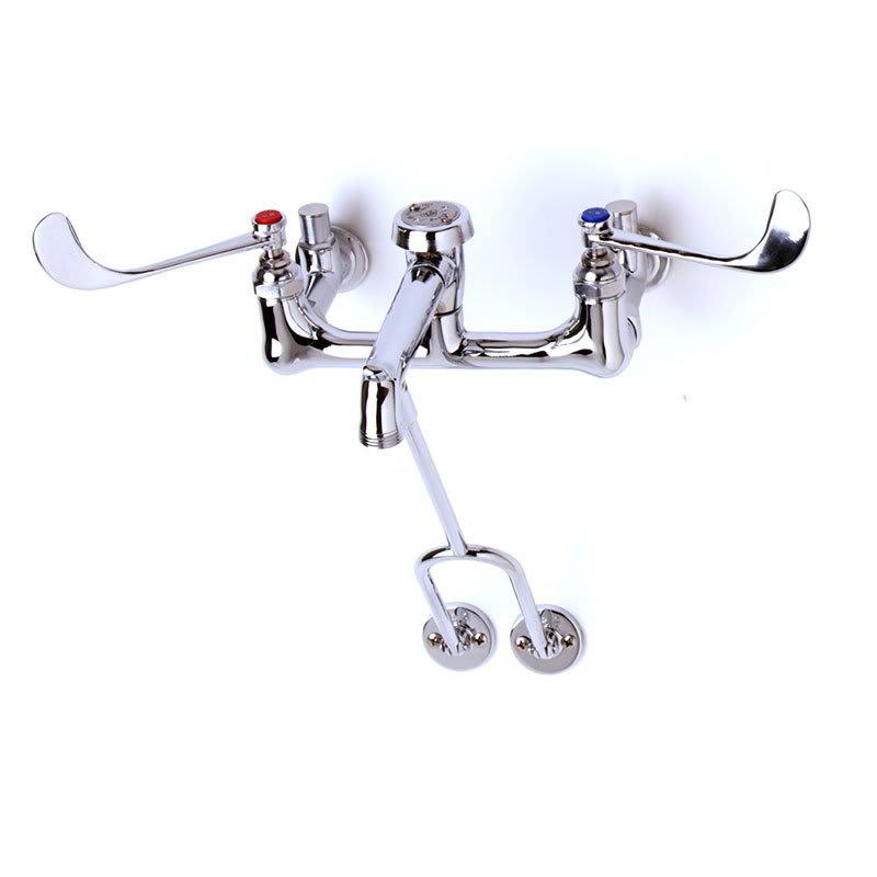 T&S B-0657 Service Sink Faucet, Pail Hook, Wrist Action Handles, Polished Chrome