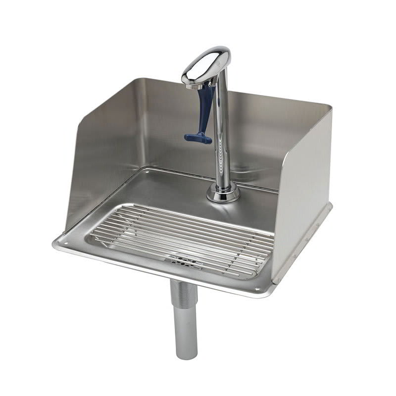 T&S B-1235 Water Station w/ Splash Guard, 10.5 in, Push Back Glass Filler