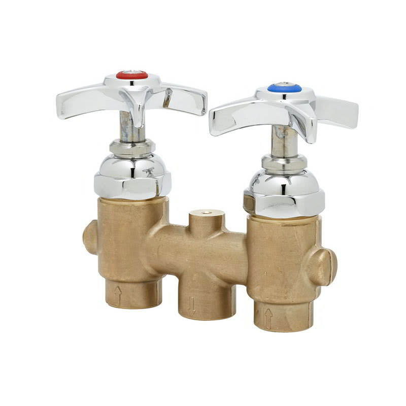 """T&S B-2297 Concealed Mixing Faucet, 4-Arm Handles, 3"""" Centers"""