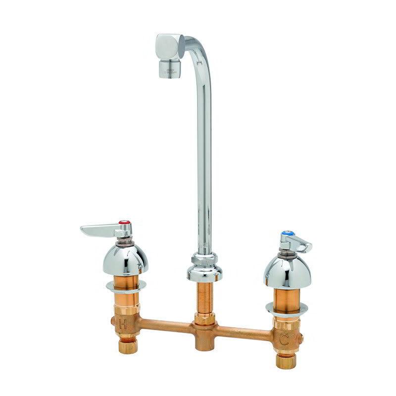 "T&S B-2386 Lavatory Faucet, 5"" Spread Swivel Gooseneck, 10"" Clearance Deck"