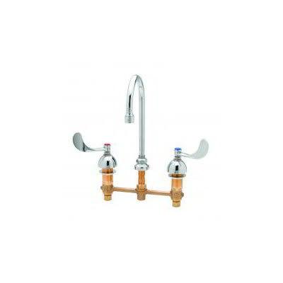 """T&S B-2866-05 Medical Faucet w/ Swivel Gooseneck, 4"""" Wrist Action Handles, 8"""" Centers"""