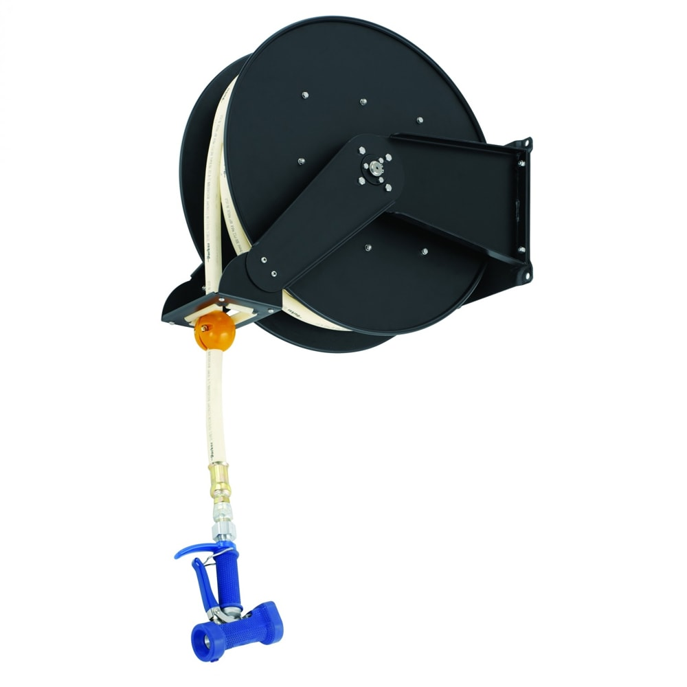 T&S B-7245-06 Hose Reel, Open, Epoxy Coated Steel, 50 ft, Front Trigger Water Gun