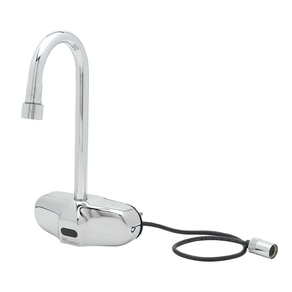 "T&S EC-3105 Wall-Mount Touchless Sensor Faucet - Gooseneck Spout, 4"" Centers, Chrome-Plated Brass"