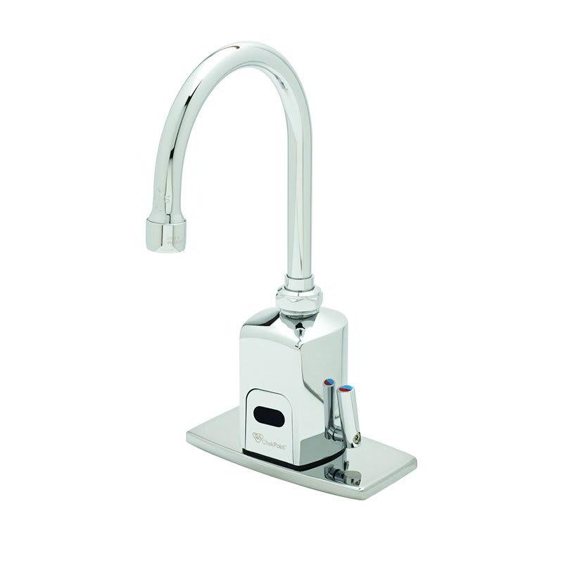 """T&S EC-3130-4DP Electronic Faucet, Deck Mount, 4"""" Deck Plate, Swivel/Rigid Gooseneck, 100-240v/1ph"""