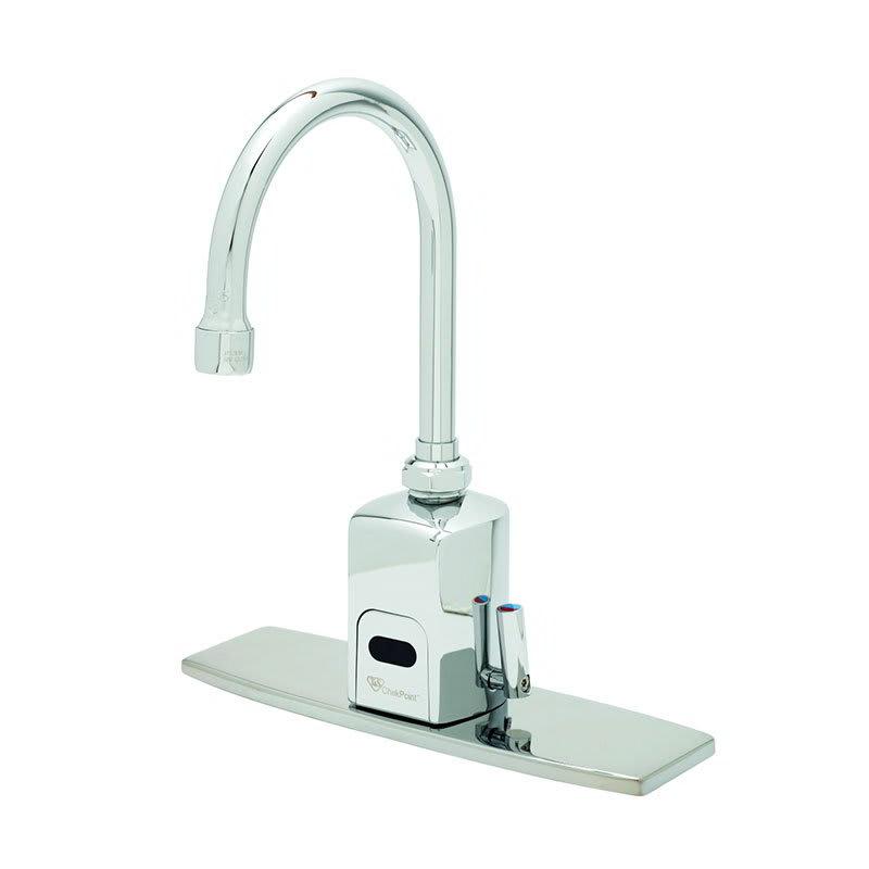 """T&S EC-3130-8DP Electronic Faucet, Deck Mount, 8"""" Deck Plate, Swivel/Rigid Gooseneck, 100 240v/1ph"""